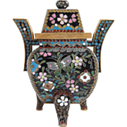 Japanese Cloisonne Enamel Miniature Incense Burner (Koro) with Lid