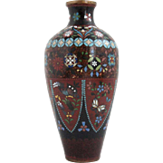 Japanese Cloisonne Enamel and Mica Decoration Cabinet Vase