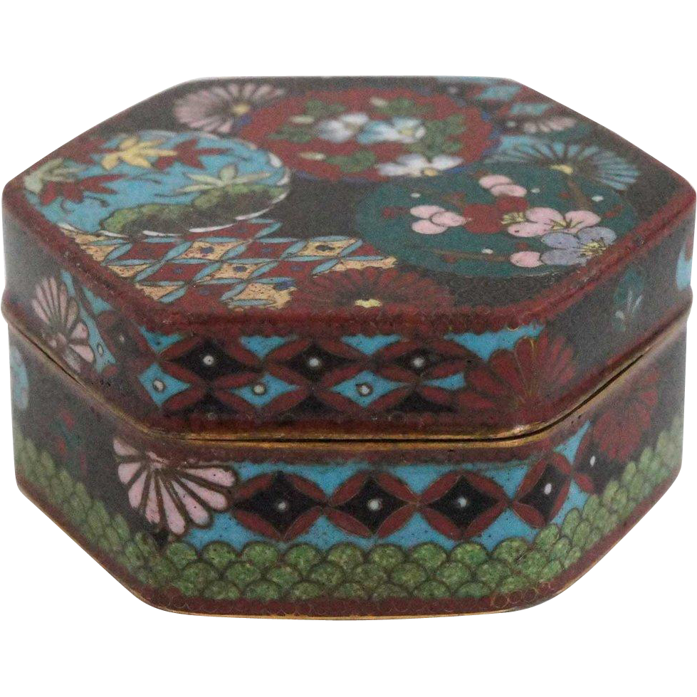 Japanese Cloisonne Enamel Hexagonal Box