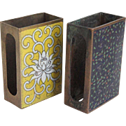 Two Japanese Cloisonne Enamel and Brass Match Box Covers