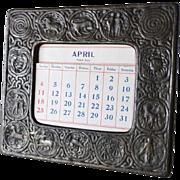 American Tiffany Studios Bronze Zodiac Pattern Desk Frame Calendar