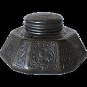 American Tiffany Studios Bronze Zodiac Pattern Desk Inkwell M3010