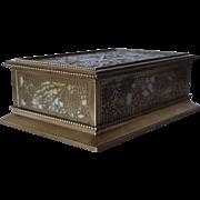 American Tiffany Studios Bronze Dore Etched Metal and Glass Grapevine Pattern Desk Box