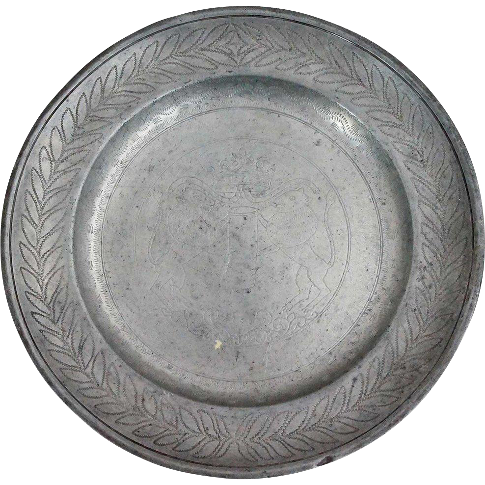 German Engraved Pewter Plate