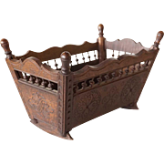 French Breton Carved Chestnut Miniature Cradle