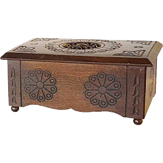 French Breton Chestnut Miniature Blanket Chest