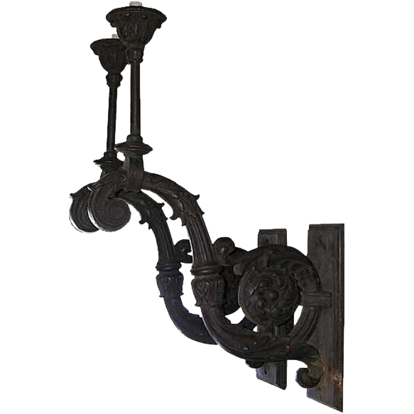 Pair of Very Large French Beaux-Arts Cast Iron Exterior One-Light Wall Sconces