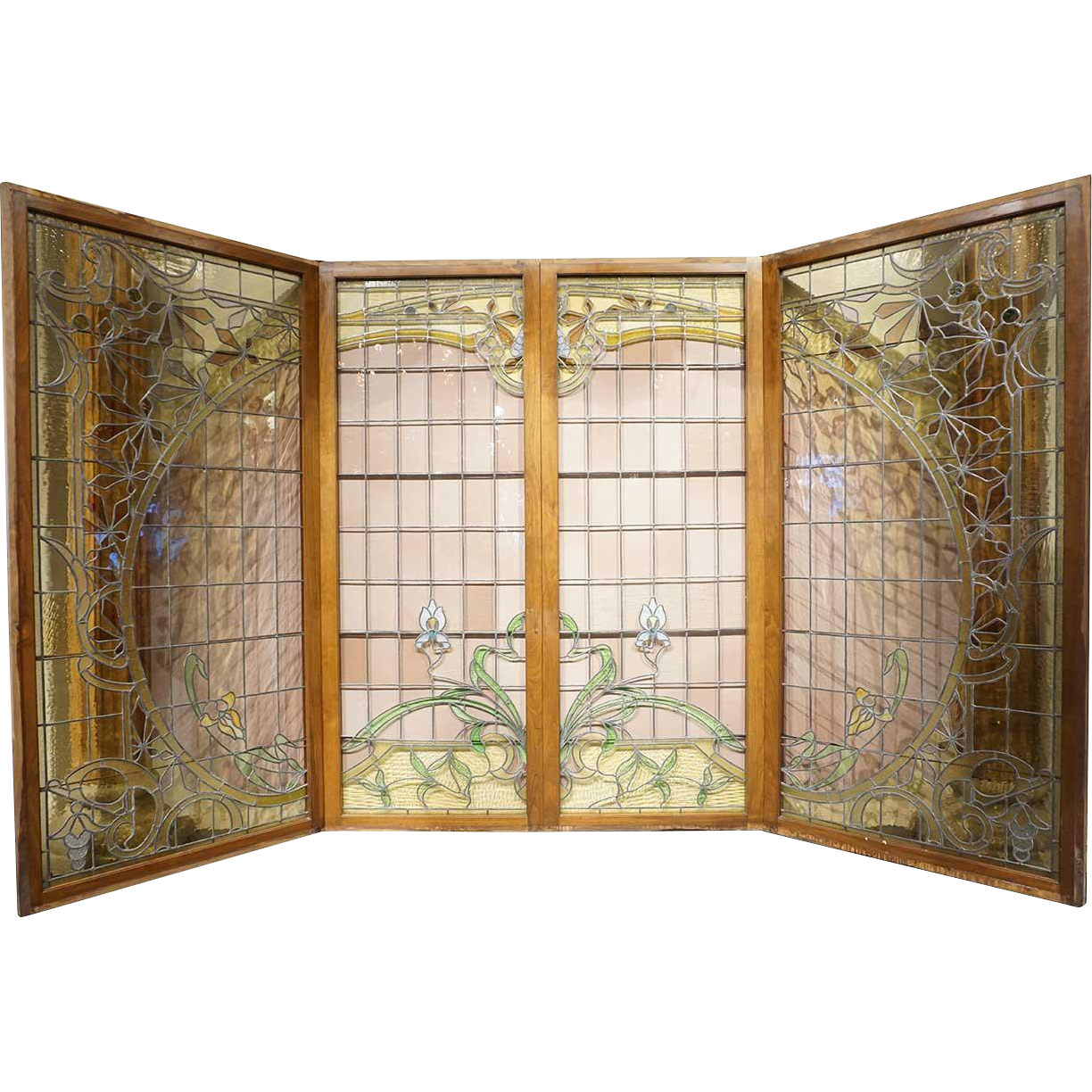 Set of Four French Art Nouveau Stained and Leaded Glass Windows