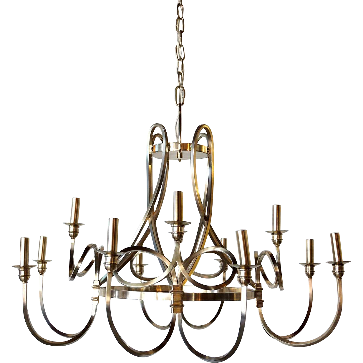 Modern Brushed Nickel 12-Light Chandelier