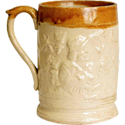 English Lambeth Salt-Glaze Stoneware Pottery Ale Mug