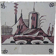 Dutch Delft Painted Pottery Tile