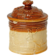 English Georgian Salt-Glazed Stoneware Pottery Tobacco Jar