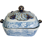English Spode Blue Transferware Pottery Covered Tureen