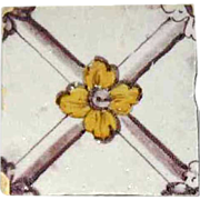 18th century Portuguese Neo-Classical Tin Glazed Ceramic Tile (Azulejo)
