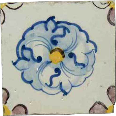 Portuguese Tin Glazed Ceramic Tile (Azulejo) (sold per piece)