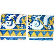 Set of Two Portuguese Baroque Period Tin Glazed Faience Pottery Tiles (Azulejos)