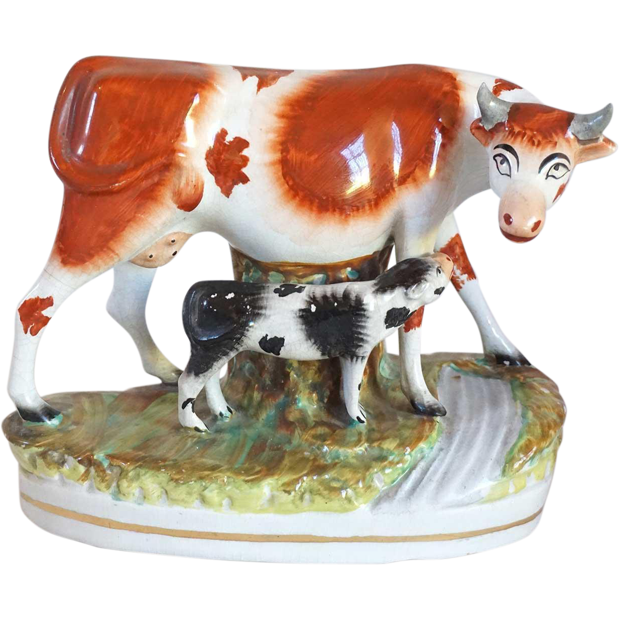 Large 19th Century English Victorian Staffordshire Pottery Cow and Calf