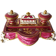 French Parcel Gilt Porcelain Ink Stand (Encrier)
