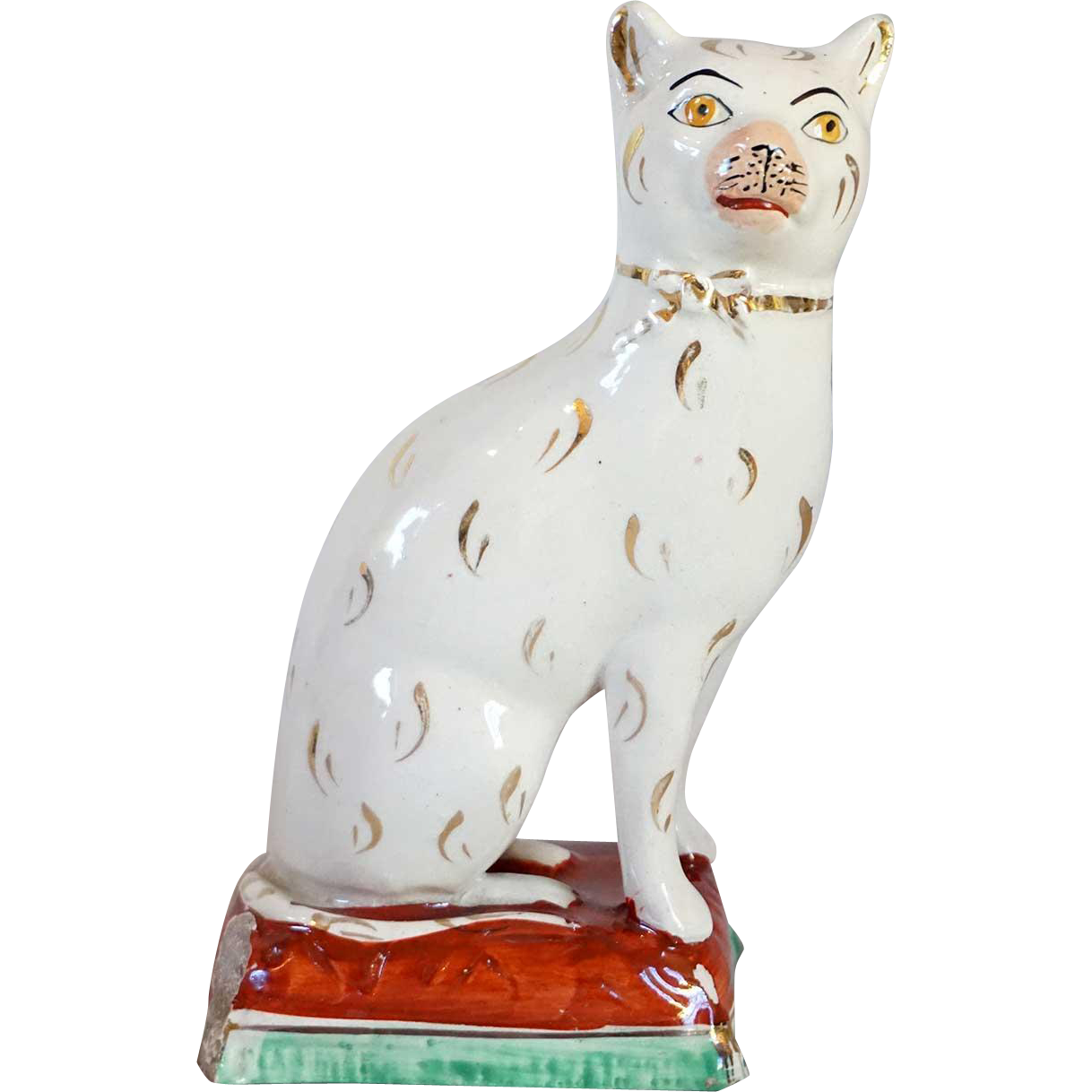 English Victorian 19th century Staffordshire Pottery Cat