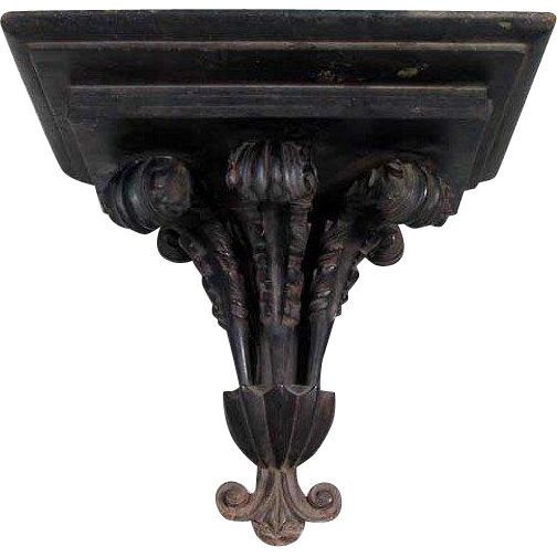Anglo Indian Ebonized Mahogany Hanging Wall Bracket Shelf