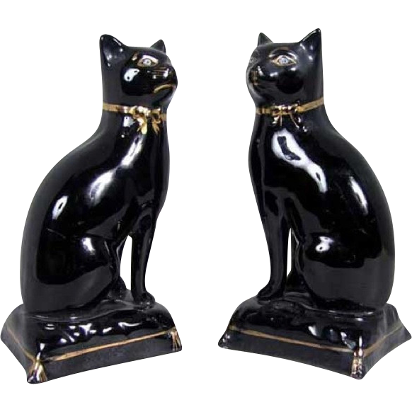 Pair of English Victorian Staffordshire Jackfield Pottery Cats