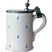 German Walzenburg Faience and Pewter Tankard
