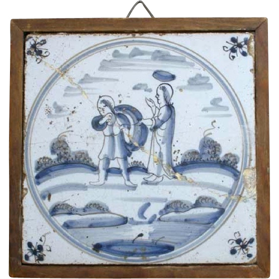 Framed 18th century Dutch Delft Blue and White Pottery Tile