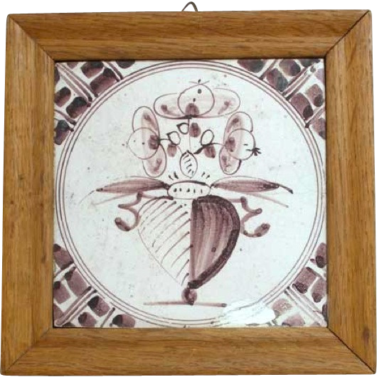 Dutch Delft Puce and White Pottery Tile 18th Century.