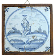 Framed 18th century Dutch Delft Blue and White Pottery Tile, Religious Scene