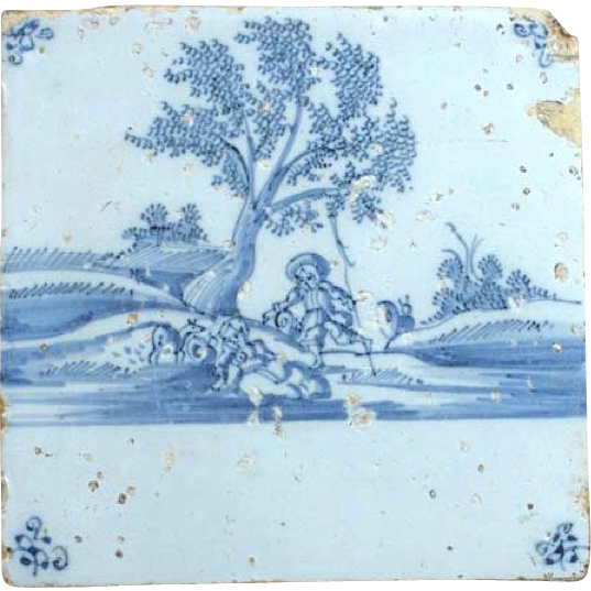 Dutch 18th century Delft Blue and White Pottery Tile, Romantic Scene