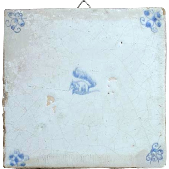 Dutch Delft Blue and White Pottery Tile 18th Century