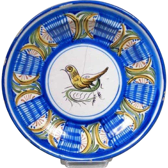 Spanish Tin Glazed Pottery Charger Plate with Bird