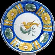 Signed Spanish Tin Glazed Pottery Plate with Bird