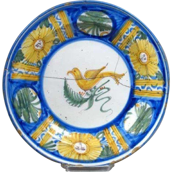 Signed Spanish Tin Glazed Pottery Plate with Bird