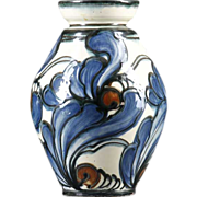 Danish Danico Art Nouveau Slip Decorated Art Pottery Vase