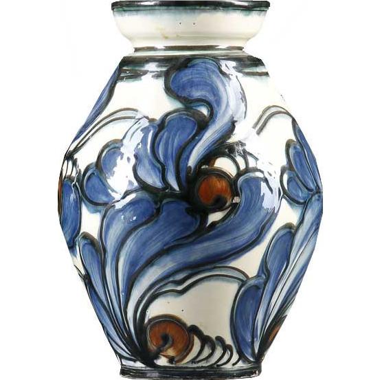 Danish Danico Art Nouveau Slip Decorated Art Pottery Vase