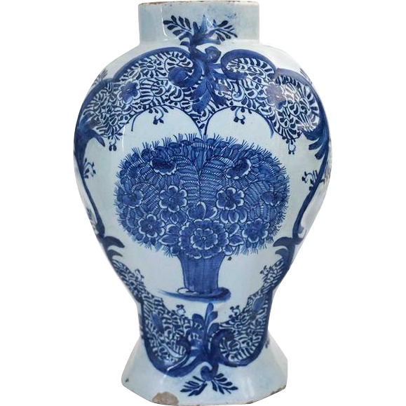 Dutch Delft Pottery Blue and White  Peacock Feather Pattern Garniture Vase