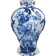 Dutch Delft Pottery Blue and White  Rococo Bird and Flower Pattern Garniture Vase