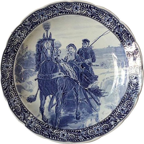 """Large Vintage Dutch Royal Sphinx 15"""" Blue and White Pottery Plate"""