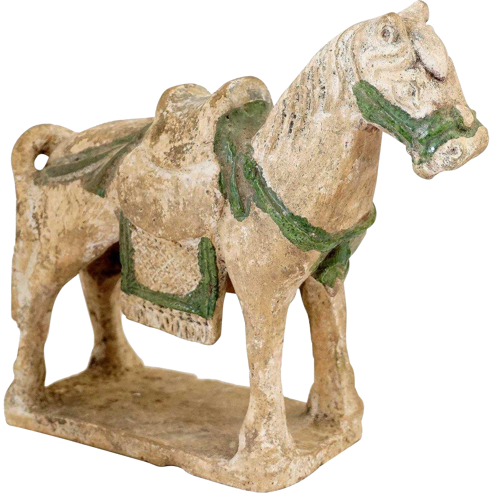 Chinese Ming Dynasty Glazed Pottery Tomb Statuette of a Horse
