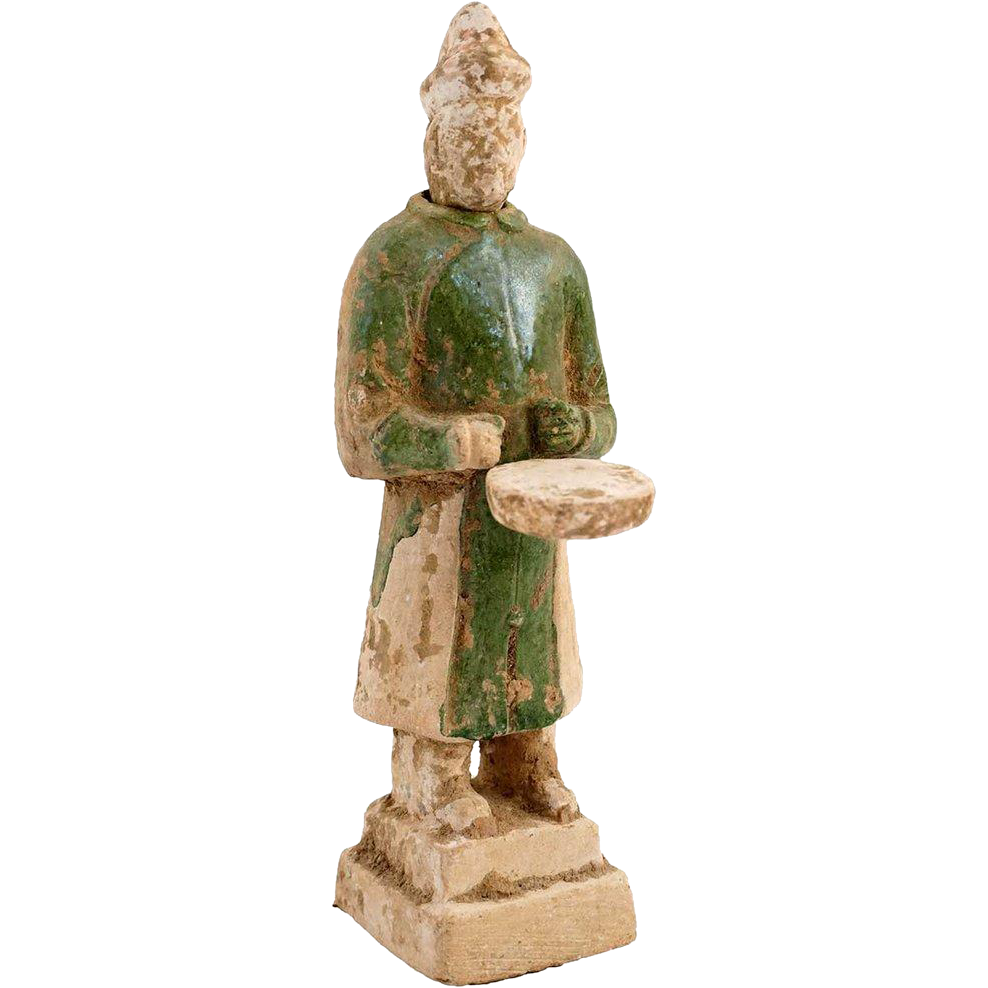 Chinese Ming Dynasty Glazed Pottery Drummer Musician Tomb Figure