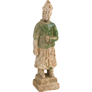 Chinese Ming Dynasty Glazed Pottery Attendant Tomb Figure