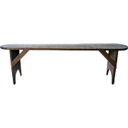 Long American New England Primitive Pine Bench