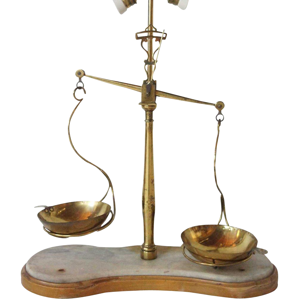 Large Italian Brass and Marble Assayer's Scale as a Table Lamp