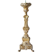 Large French Baroque Style Brass Pricket Candlestick
