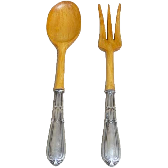 Two-Piece American Whiting Sterling Silver and Wood Troubadour Salad Set