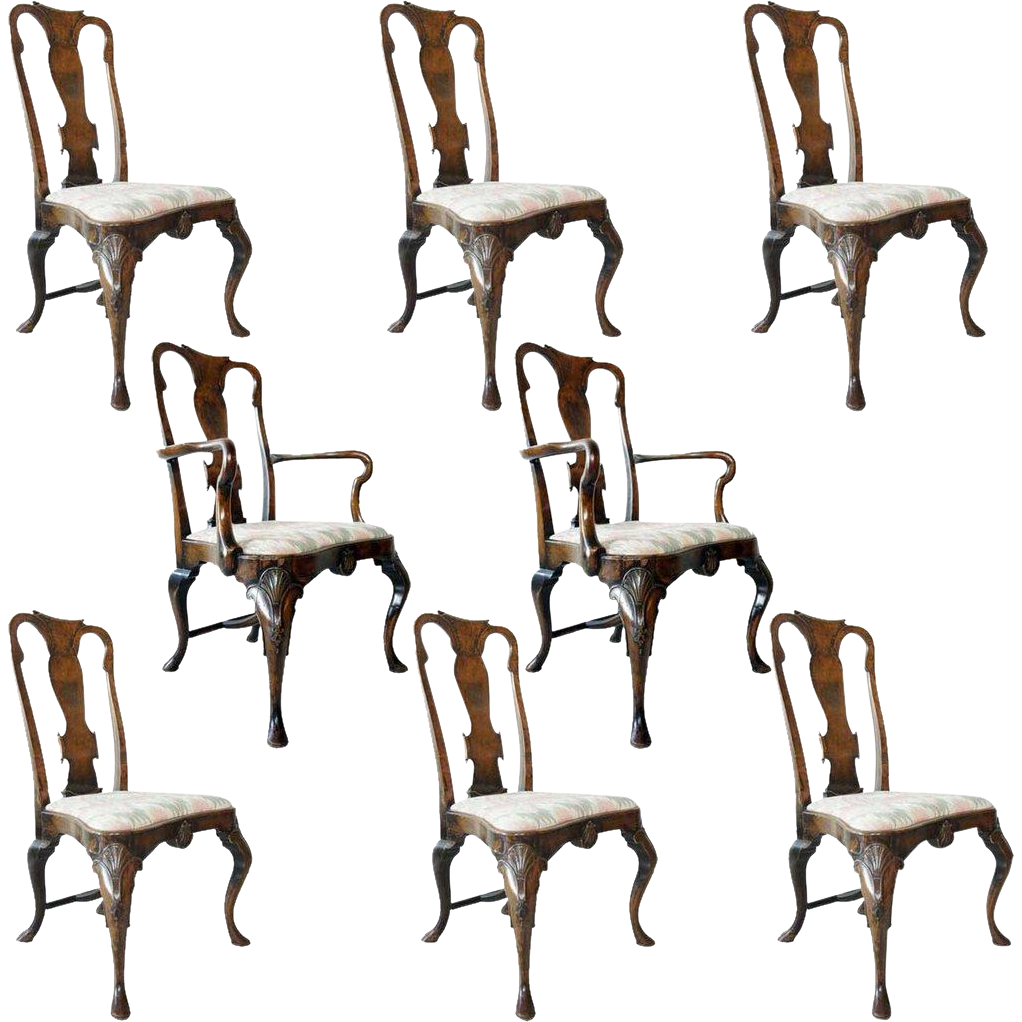 Set of Eight English Queen Anne Style Burled Walnut Dining Chairs