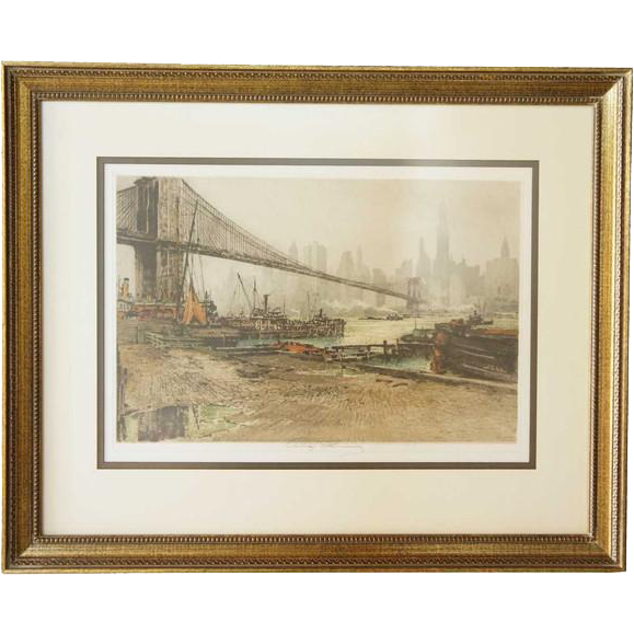 LUIGI KASIMIR Colored Aquatint Etching, Brooklyn Bridge #2
