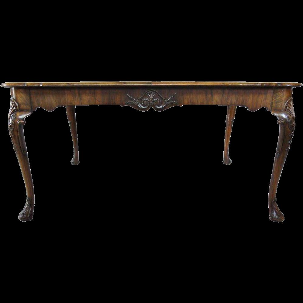 English Queen Anne Style Burl Walnut Veneer Extending Dining Table