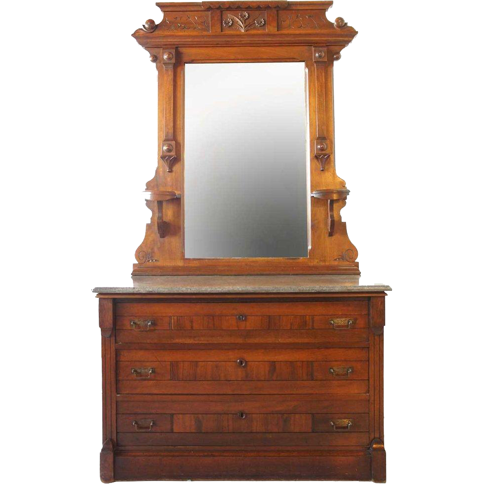 Large American Eastlake Marble Top Walnut Chest with Mirror